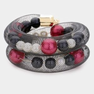 Mesh Tube Pearl Adjustable Bracelet